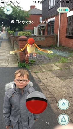 Pidgeotto swoops down - Watch out Jayden!
